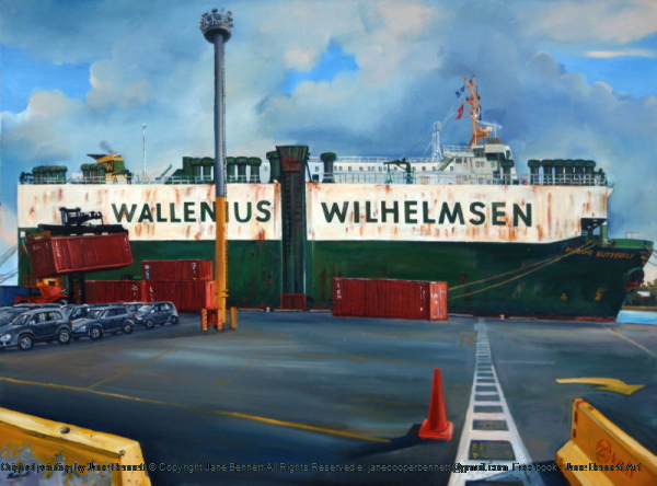 oil painting of  cranes and Wallenius Wilhelmsen ship 'Madame Butterfly'  at the Hungry Mile, now Barangaroo by industrial heritage artist Jane Bennett