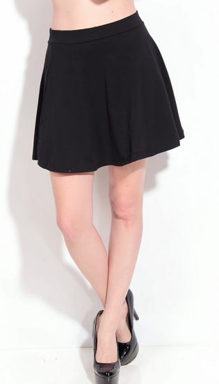 BLACK COTTON FLARED MINI SKIRT