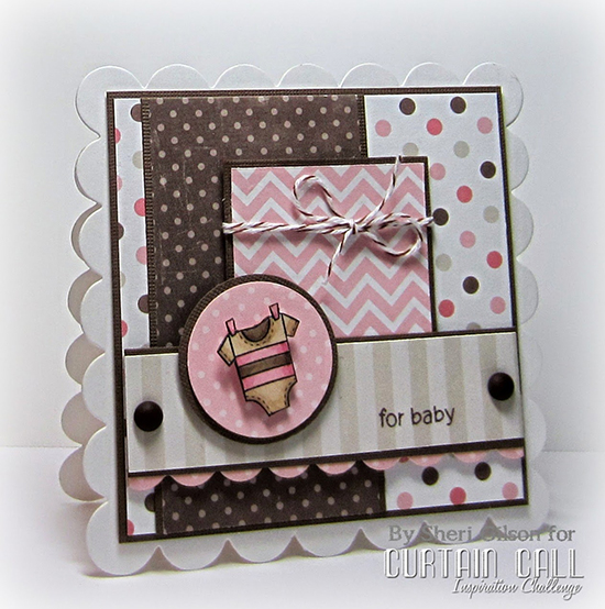 sweet baby onsie card by Sheri Gilson | Winged Wishes stamp set by Newton's Nook Designs #newtonsnook #babycards