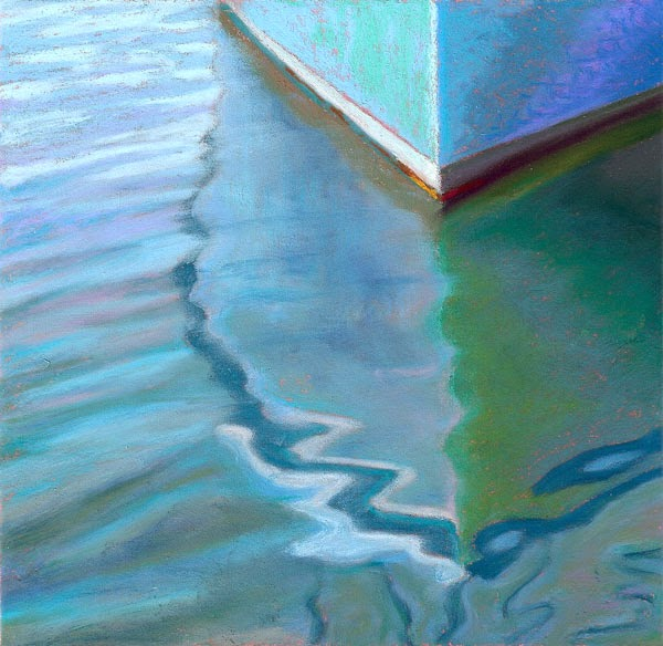 Pastel painting teal boat reflection seascape painting by for Pastel teal paint