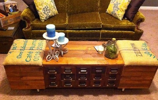Card Catalog Coffee Table With Diy Instructions Via Vintage Finds