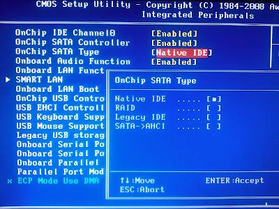 Configuración BIOS, cambiar SATA AHCI por IDE