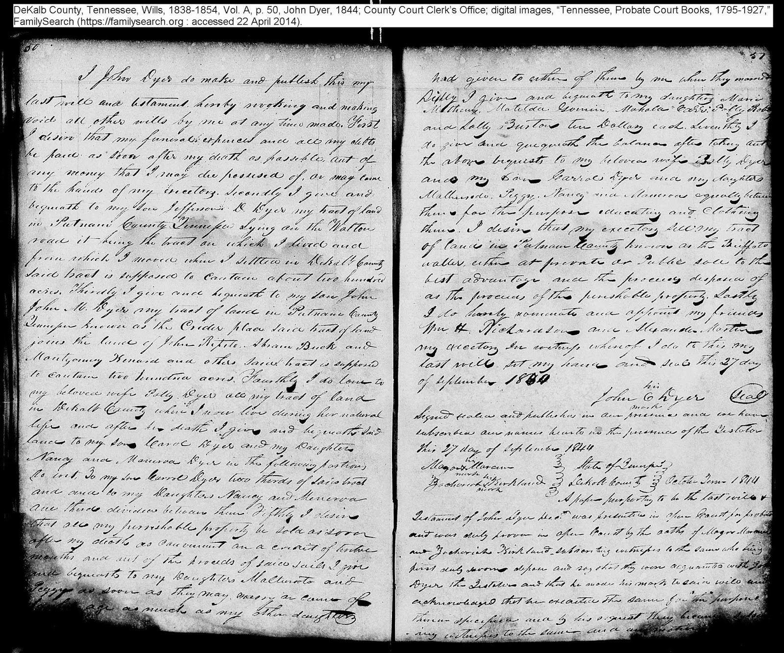 Will of John Dyer, DeKalb Co., TN, 1844, p. 50-51