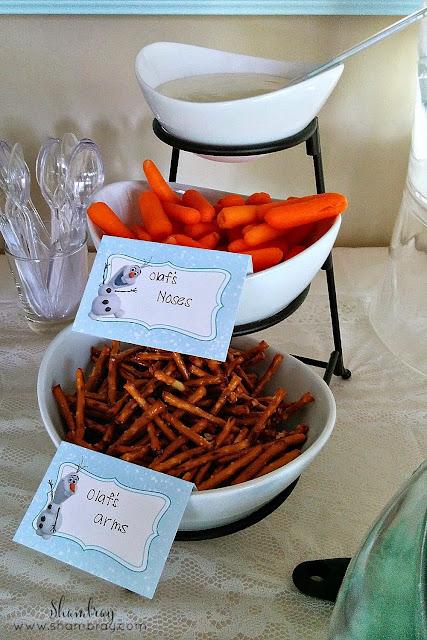 carrots, pretzel sticks, Olaf's noses, Olaf's arms