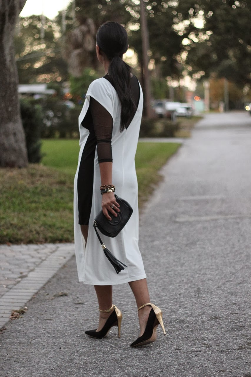 asos dress gucci bag black gold white heels pumps sigerson morrison