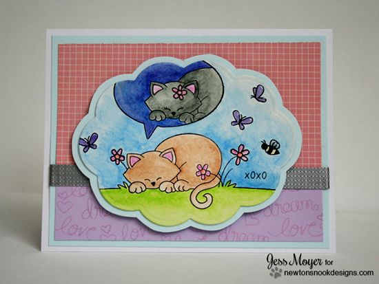 Dreaming Kitty card by Jess Moyer for Newton's Nook Designs - Newton's Daydream Cat stamp set