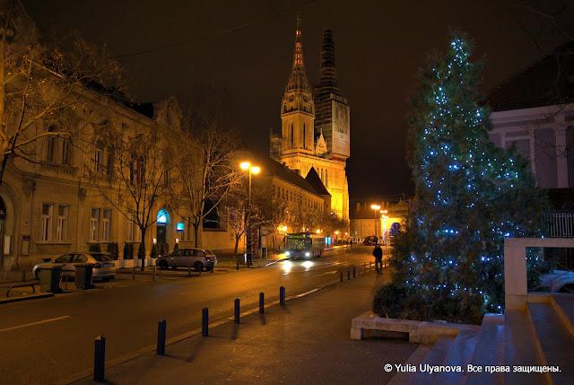 Вид на Загребский собор зимой, Хорватия