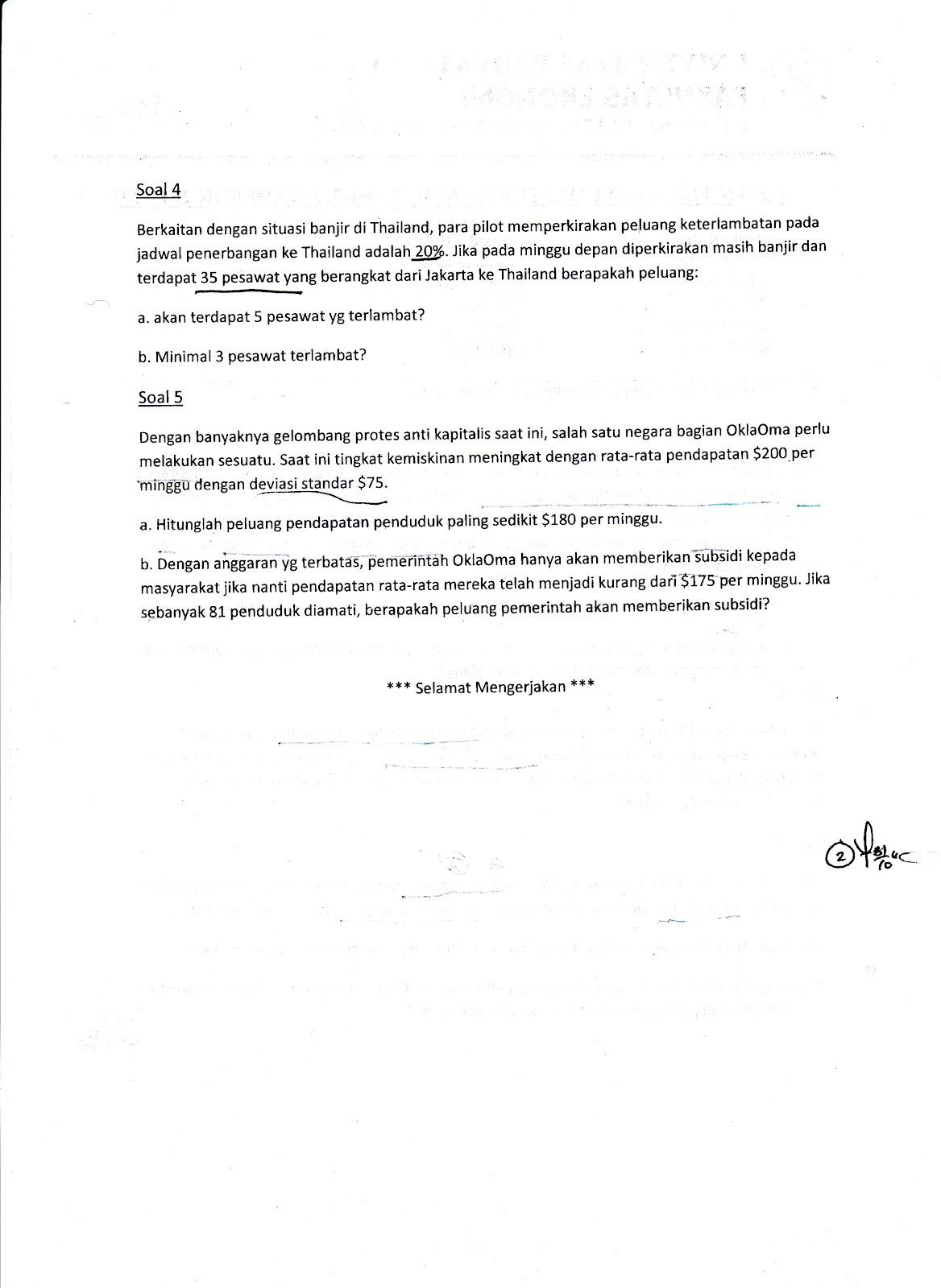 Uts Statistika Bisnis 2 Tahun 2011 2012 Kumpulan Soal Ujian