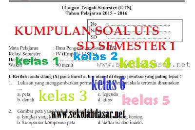 kumpulan soal UTS SD kelas 1, 2, 3, 4, 5, dan 6 semester ganjil