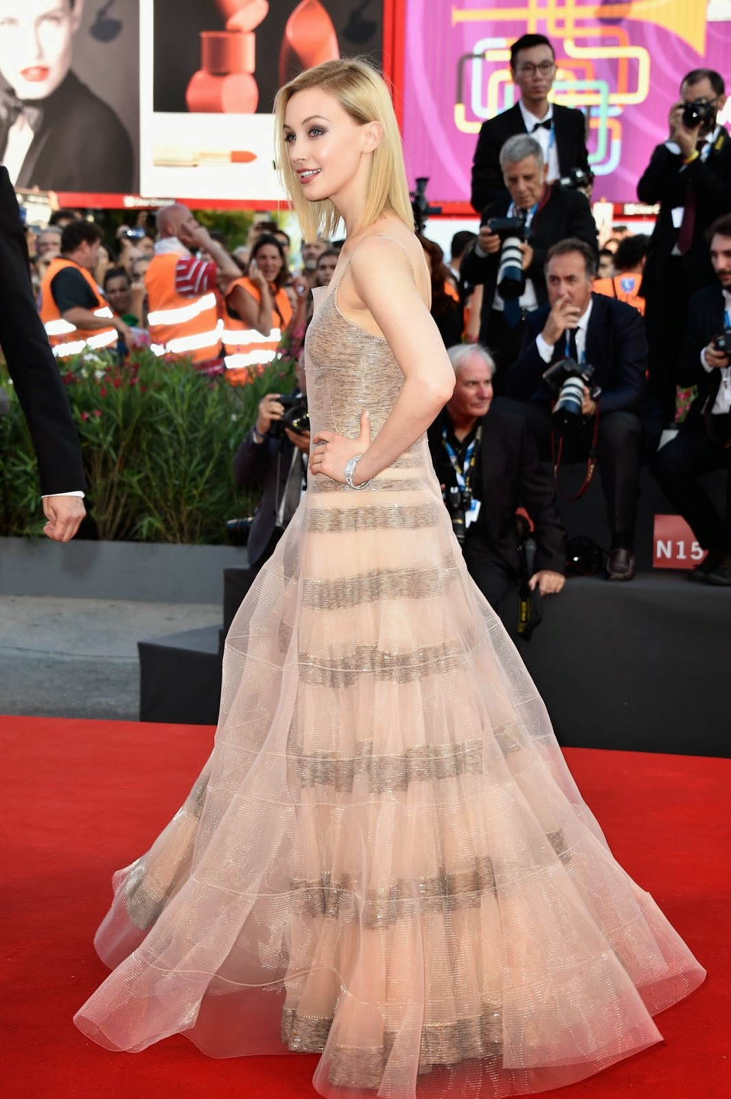 Sarah Gordon flaunts Armani Prive at the 'Birdman' Venice Film Festival Premiere and Opening Ceremony