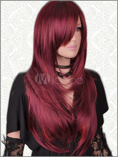 Holiday Gifts 2013 - Long Straight Dark Red Mix Sheepskin Wig For Women