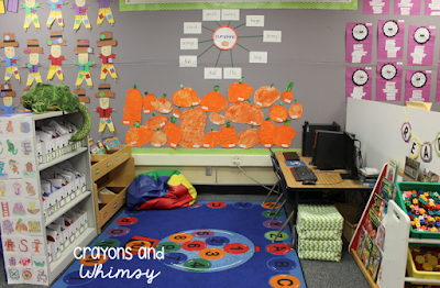 October classroom Crayons and whimsy kindergarten library