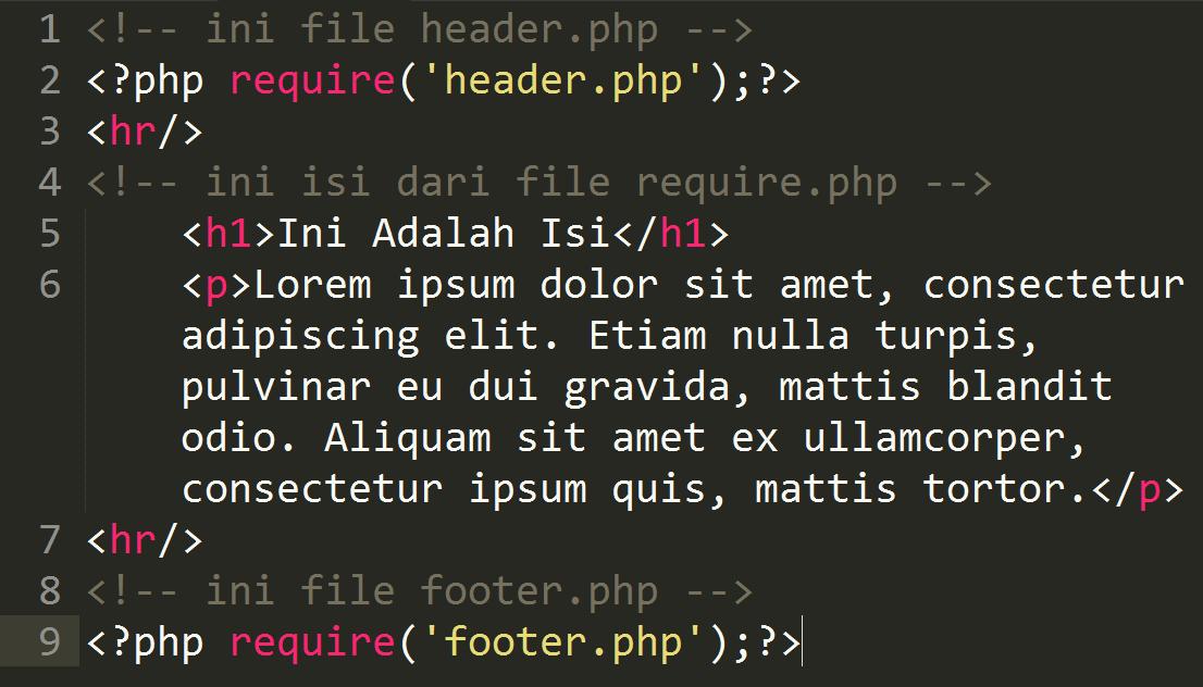Penggunaan Require dan Include Pada PHP