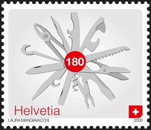 Sello postal suizo que representa queso un cortaplumas, obra de Laura Mangiavacchi