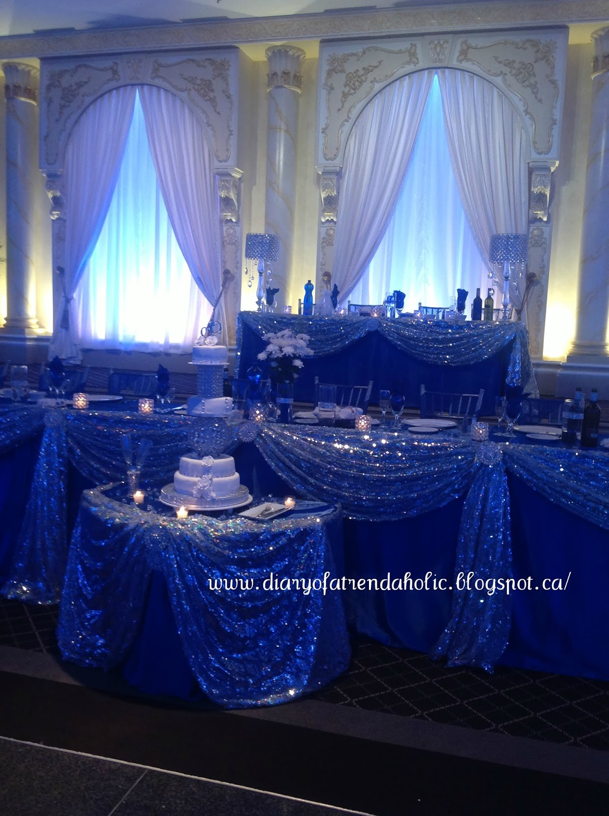Royal Blue Silver And White Wedding Reception Elegant Winery