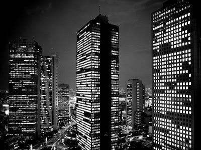Tokyo Skyscapers Black and White Cityscape HD Desktop Wallpaper