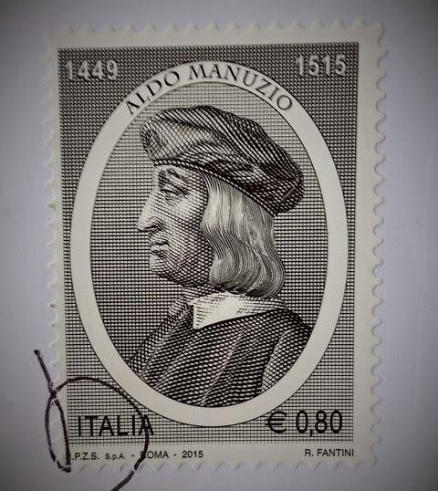 francobollo dedicato ad Aldo Manuzio nel V centenario della morte