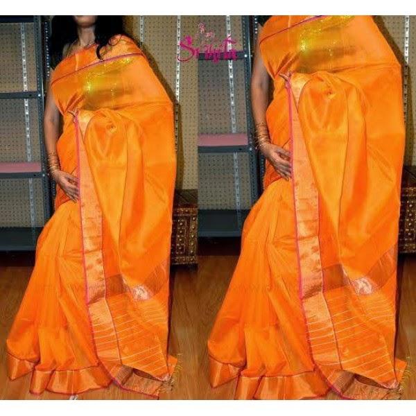 yellow light weight silk saree