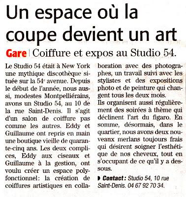 """Article du """"Midi-Libre"""" édition de Montpellier du 23 mars 2013 concernant le salon de coiffure Studio 54 à Montpellier."""
