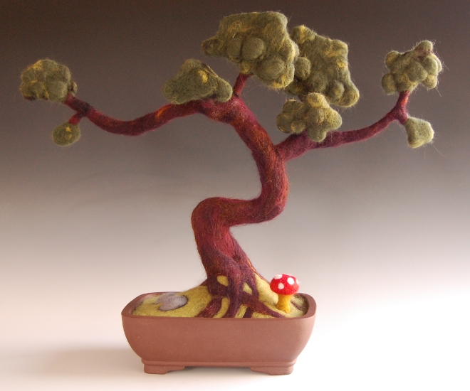 """Here is my finished needle felted Bonsai tree. It measures 15.25"""" tall ..."""