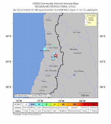 Sísmo 5,0 grados en Chile, 30 de Abril de 2013