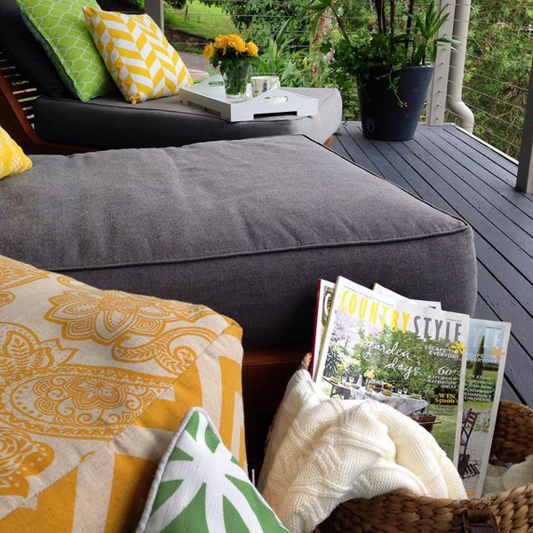 Baskets in outdoor living rooms