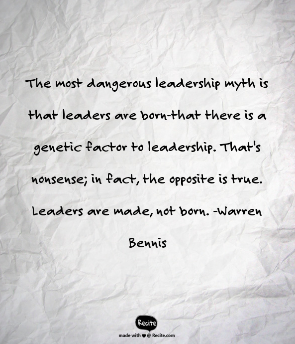 is future leader born or made Are leaders born or made essaysit seems as though everyone has something to say about leadership - even if what they are saying is based on misunderstanding and misconception.