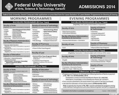 FUUAST Announced Admission 2014 for Morning and Evening Programs