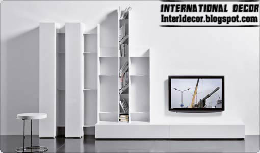 Modern TV Wall Shelving Unit Design, TV Wall Units Designs White