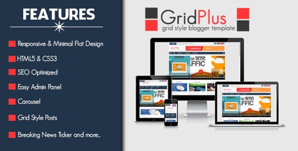 Grid plus blogger template responsive grid style