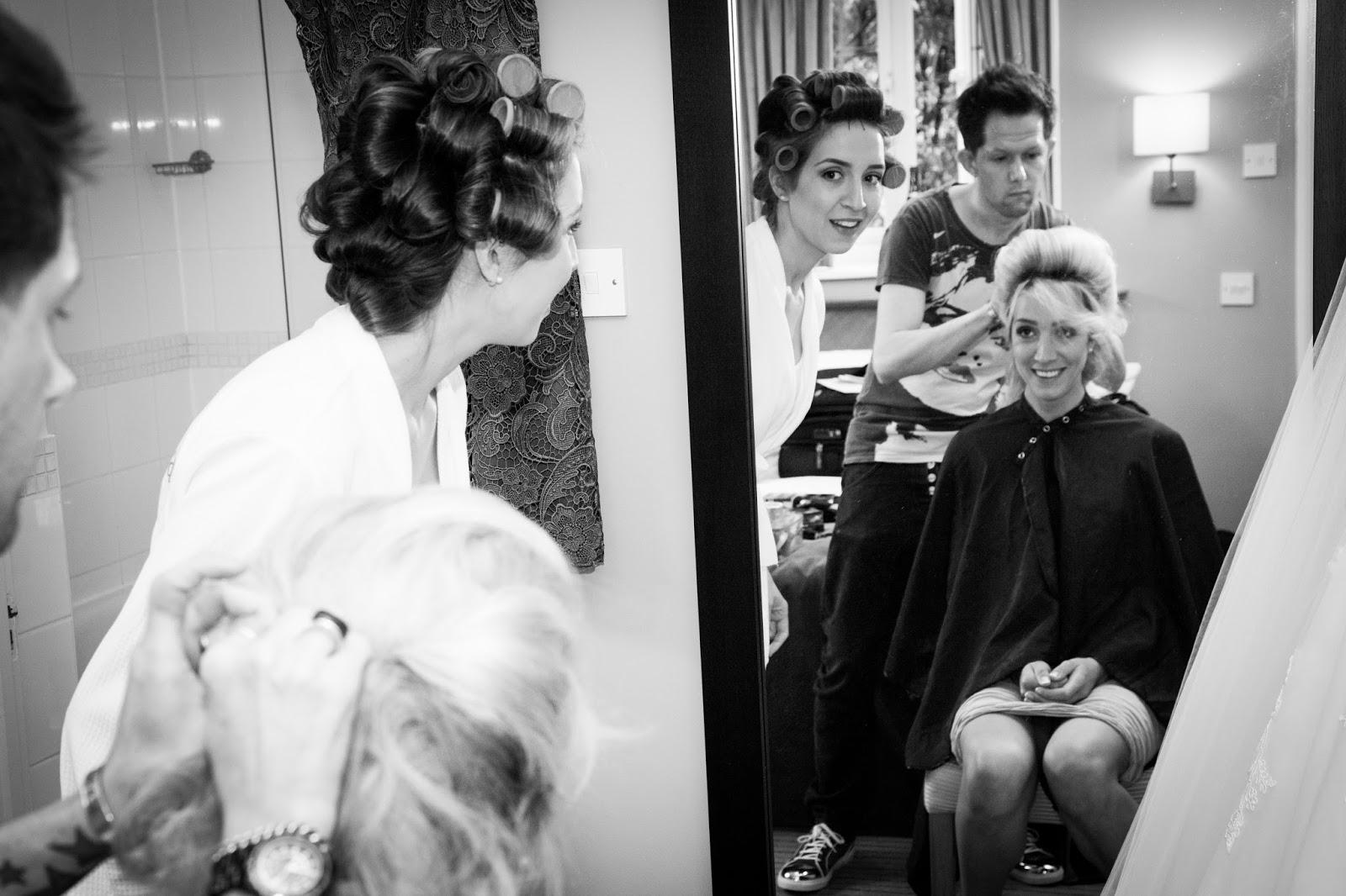 Bridesmaids wedding preparations, hair and make up