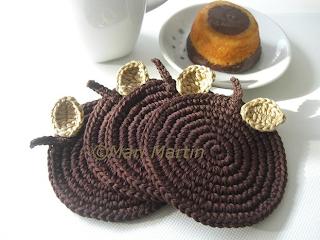 Crochet Coasters Chocolate Apple