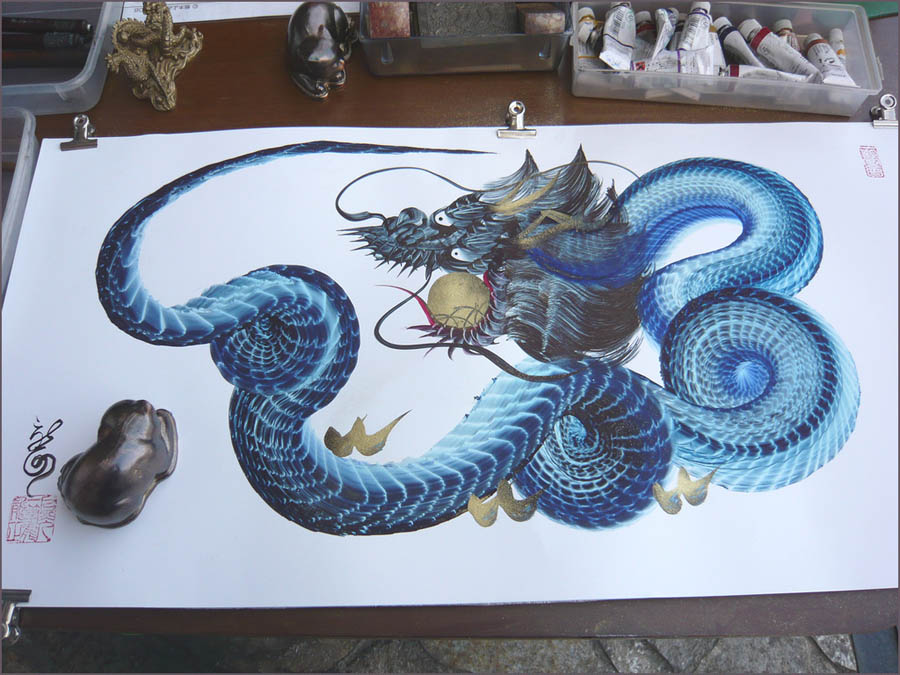 Dragon art of asia 2012 year of the dragon one stroke for Japanese dragon painting
