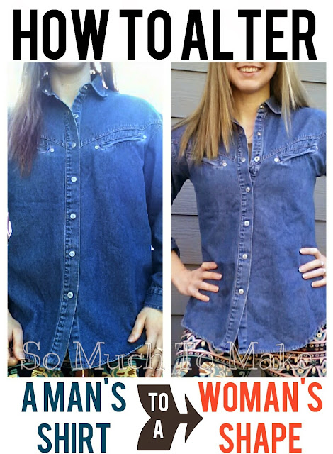 ALTERATION SEWING TUTORIAL: MAN'S SHIRT TO A WOMAN'S SHAPE. EASY BEGINNER PROJECT