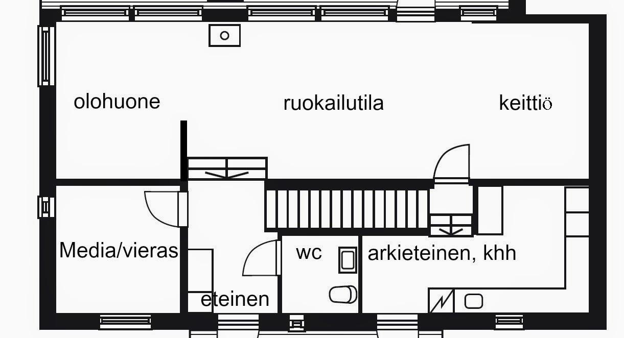 Puuta ja kiveä -raksablogin keittiö on alakerrassa