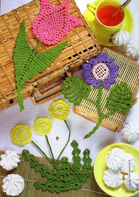 вязаные салфетки-цветы