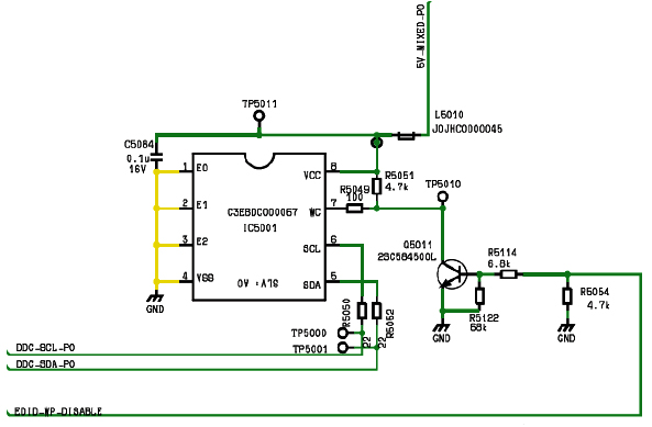 Hình 32c - Các tín hiệu DDC-SCL-P0 và DDC-SDA-P0 giao tiếp với IC nhớ