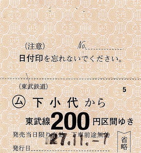 東武鉄道 常備軟券乗車券 日光線 下小代駅