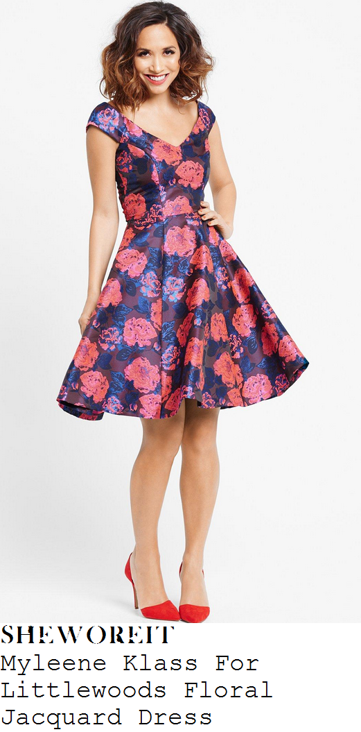 myleene-klass-purple-coral-pink-blue-floral-jacquard-off-shoulder-fit-and-flare-prom-dress