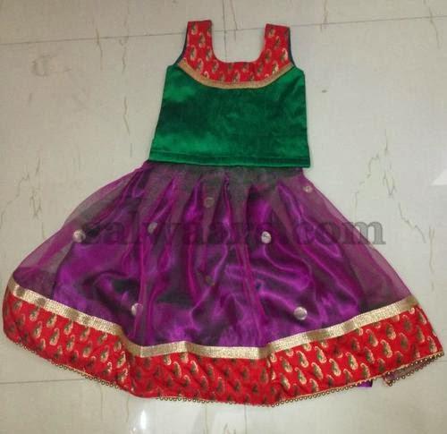 Purple Tissue Plain Lehenga