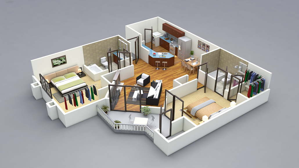 13 awesome 3d house plan ideas that give a stylish new for Small house plan design 3d