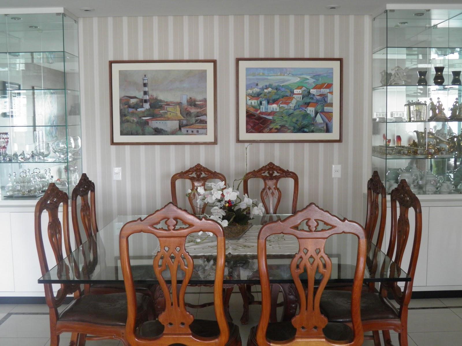 Pruzak Com Imagem De Sala De Jantar Com Papel De Parede Id Ias  -> Sala De Estar Decorada Com Papel De Parede E Espelho