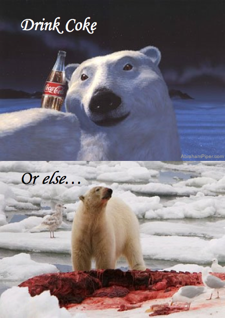 Drink Coke or else... Coca-Cola polar bear gives into its natural instincts
