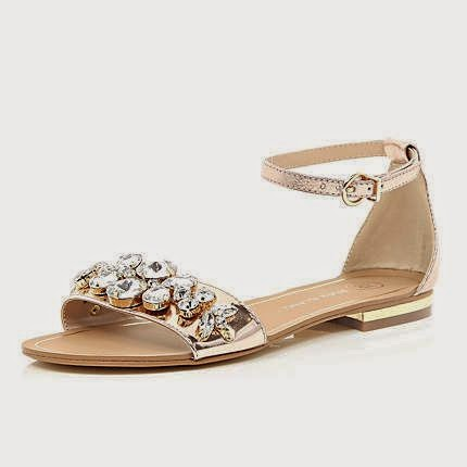 Gold Metallic Gemstone Sandals