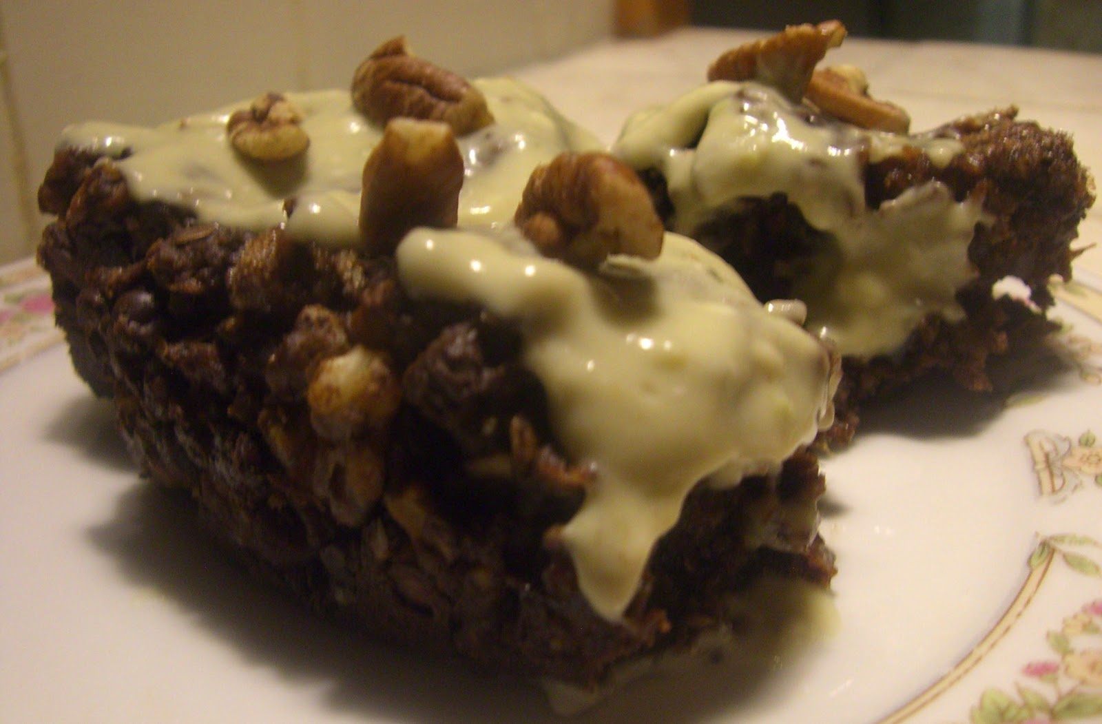 Chocolate Chip Walnut Brownies With Avocado Cream Cheese Frosting