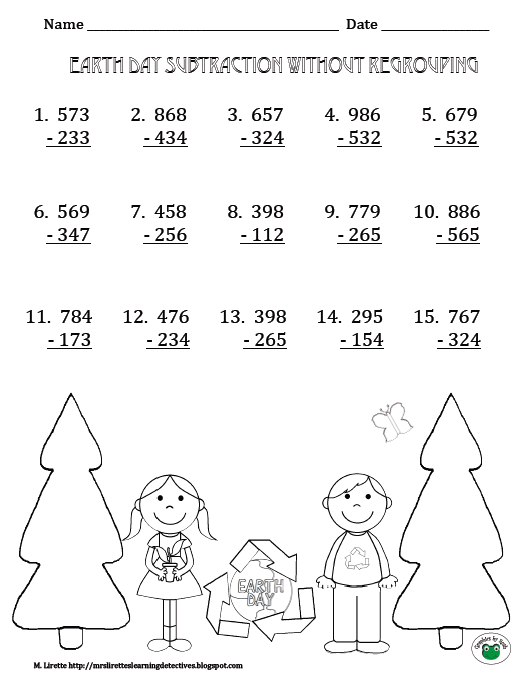 math worksheet : classroom freebies too freebie subtraction without regrouping : Three Digit Subtraction Without Regrouping Worksheets