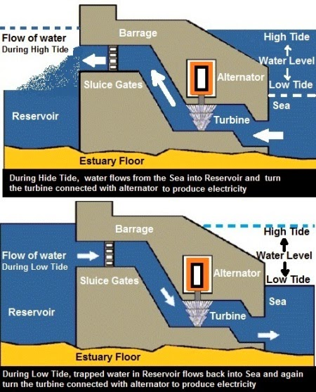 Tidal energy is harnessed by constructing a dam across a narrow opening to the sea. A turbine fixed at the opening of the dam converts tidal energy to electricity. The locations where such dams can be built are limited     Cost of energy production is high as dam construction involves large capital cost