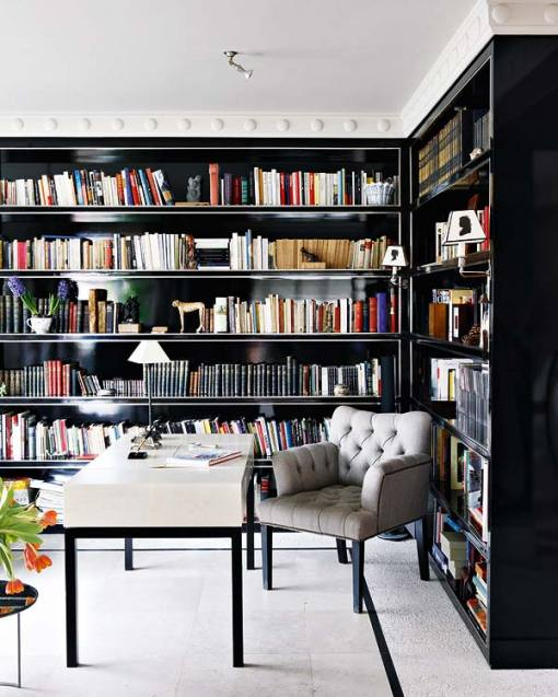 glamorous office, black shelves, high-gloss paint
