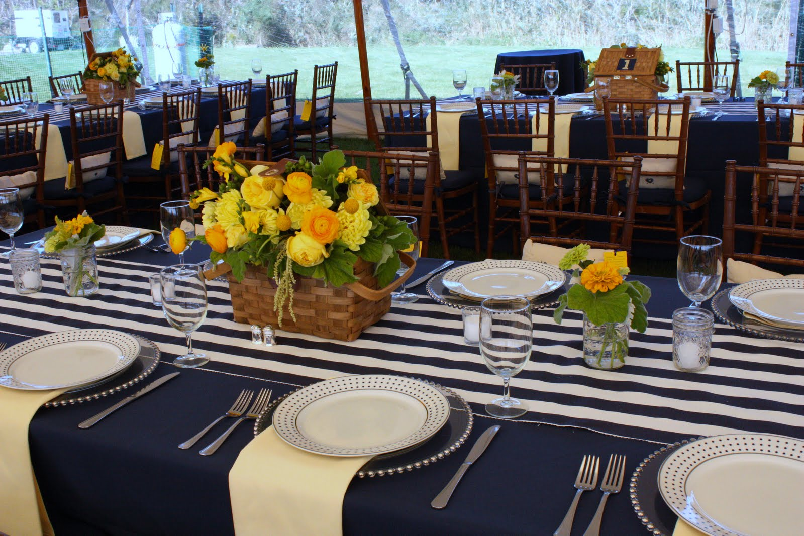 Blush floral design yacht club navy and yellow preppy wedding for Table design yacht