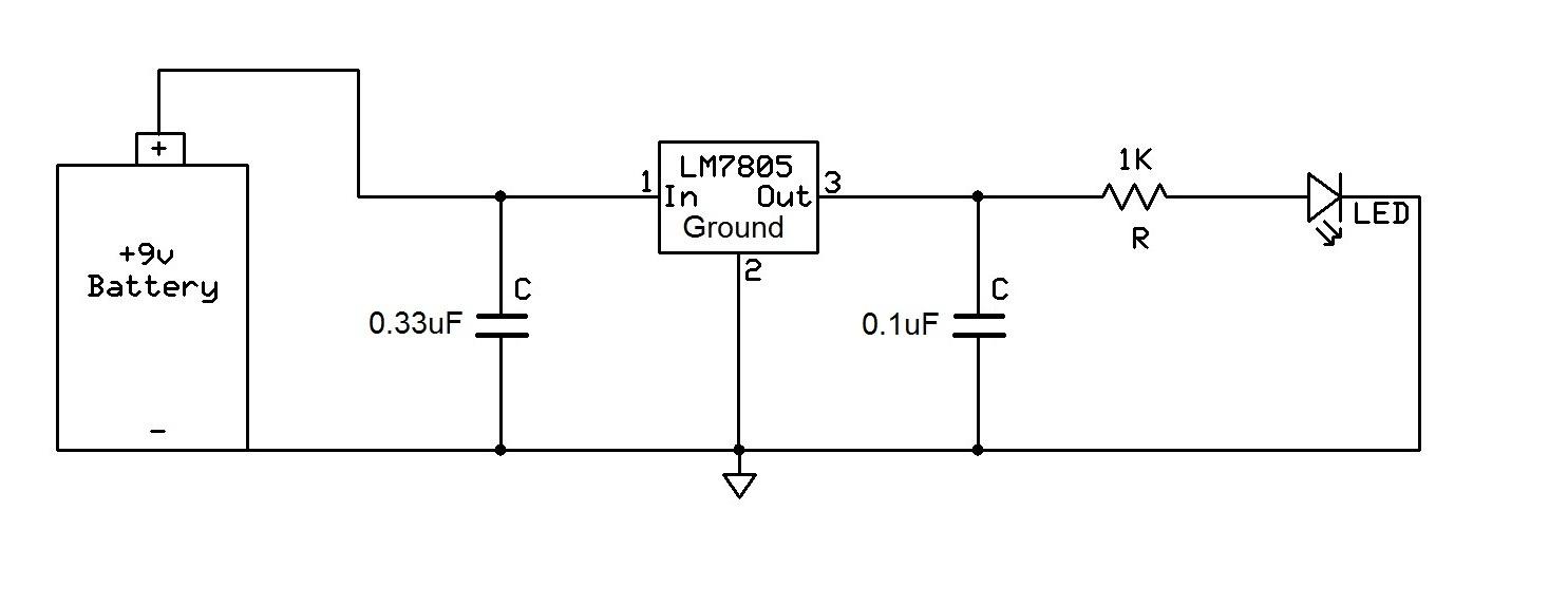 Ir Remote Control Tester together with 12v To 5v 3a Dc Converter Step Down Regulator moreover 5v Power Supply Using 7805 as well 7805 Voltaj Regulatoru furthermore Transformerless Power Supply 12v 100ma. on lm7805 voltage regulator circuit 1 5 volt